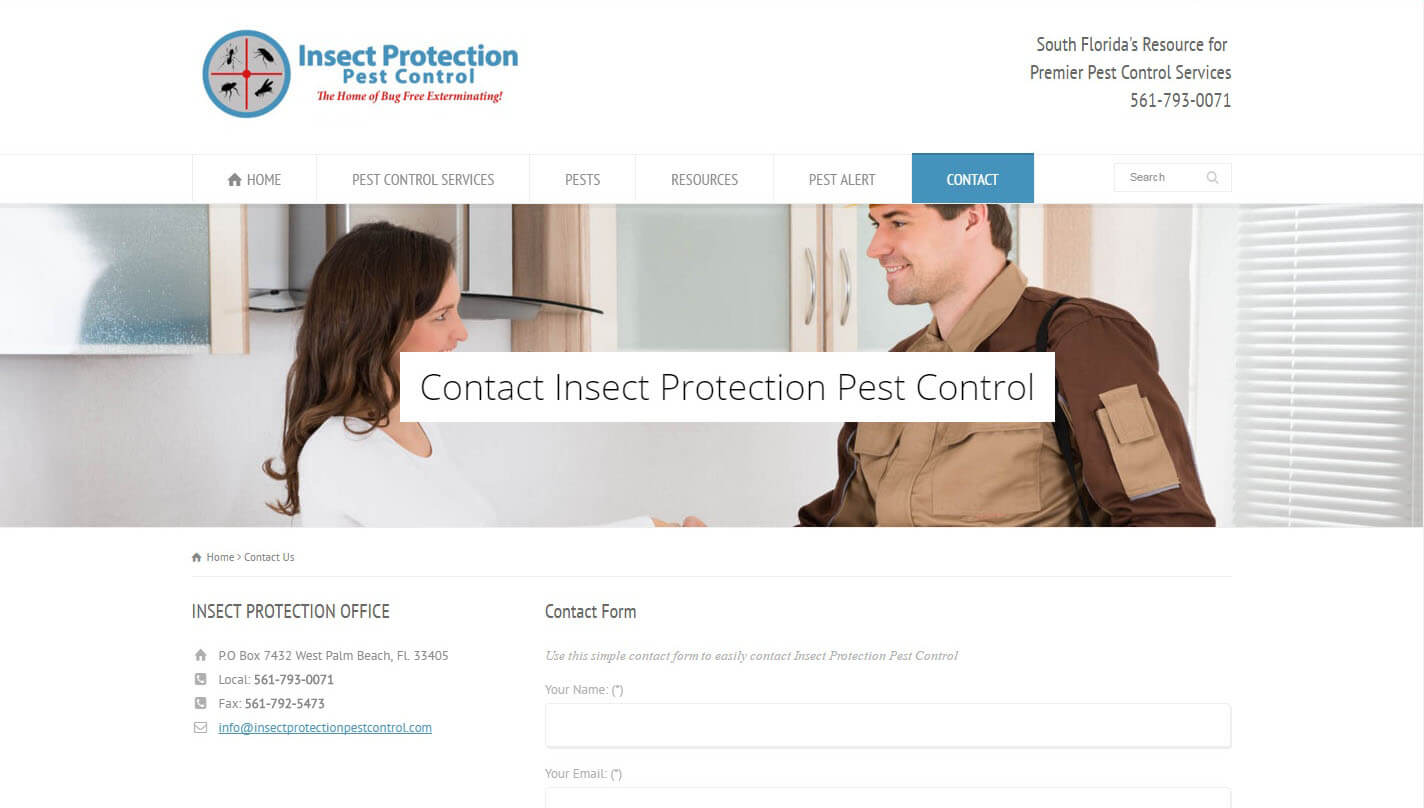 An image of the contact us page of Insect Protection Pest Control, website created by Not Fade Away Marketing