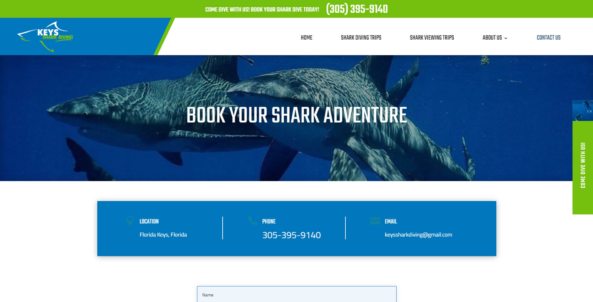 An image of the book now page of Keys Shark Diving, website created by Not Fade Away Marketing