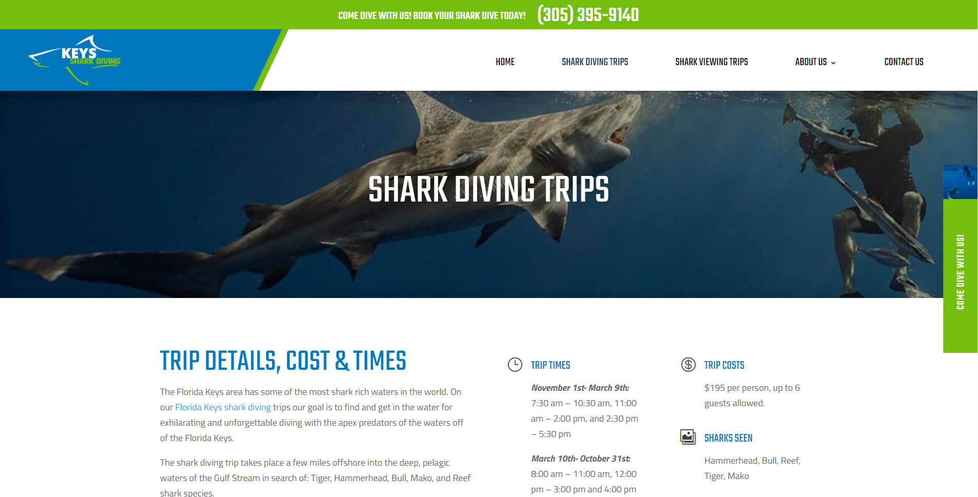 An image of the shark dives page of Keys Shark Diving, website created by Not Fade Away Marketing
