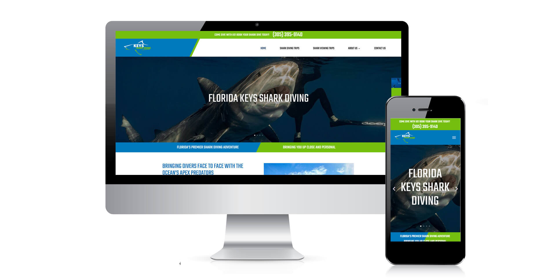 An image of the responsive design of Keys Shark Diving, website created by Not Fade Away Marketing