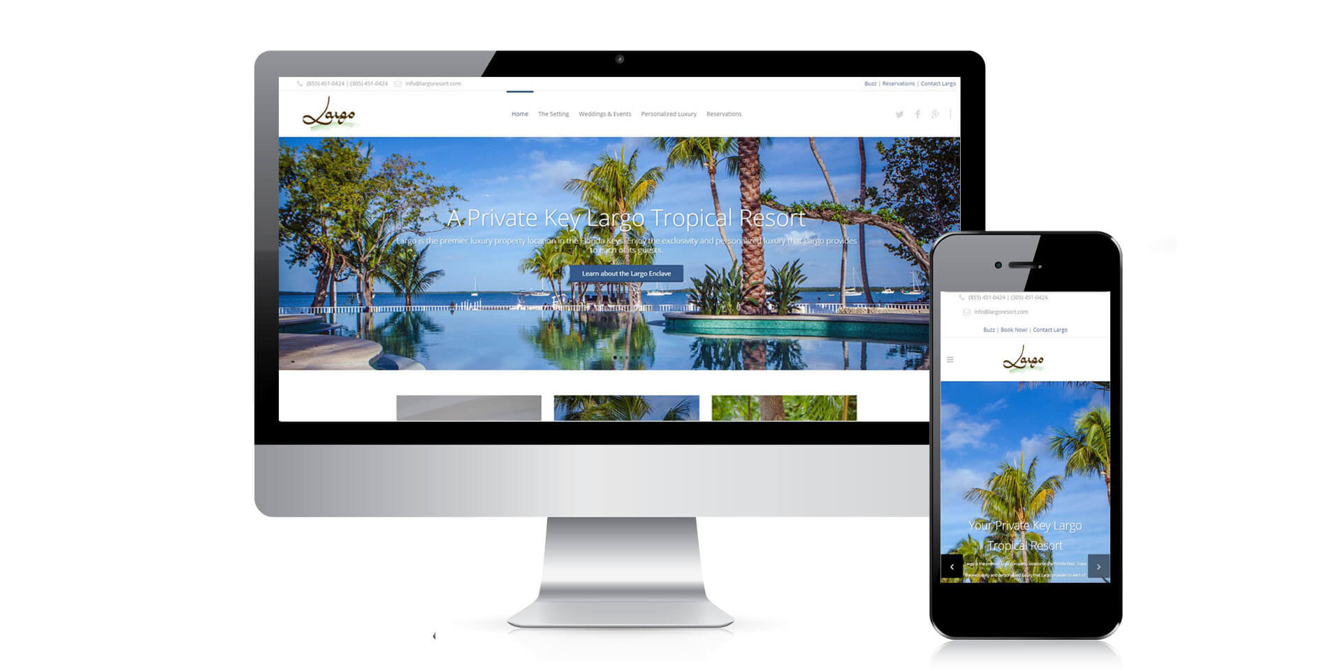 An image of the responsive design of Largo Resort, website created by Not Fade Away Marketing
