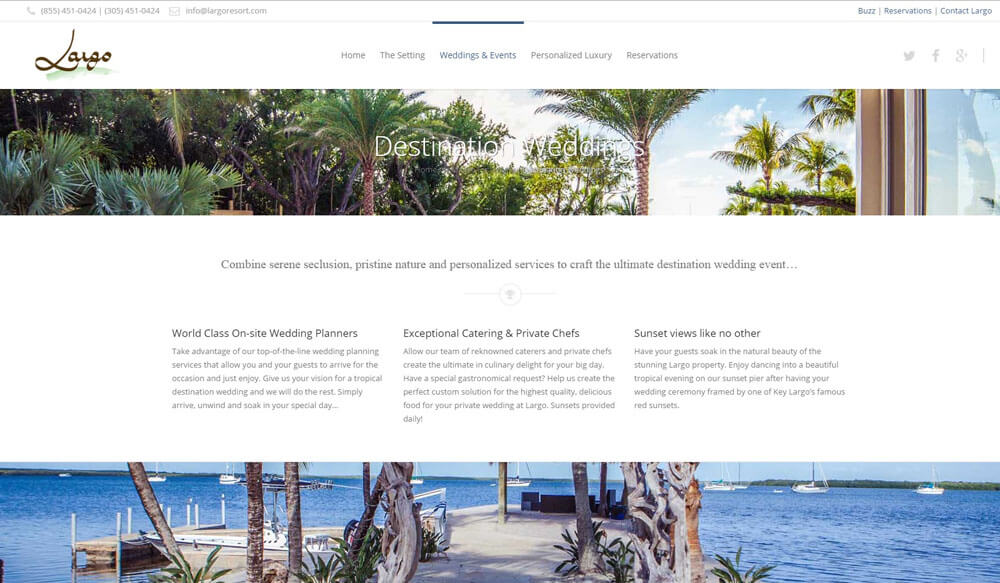 An image of the rooms page of Largo Resort, website created by Not Fade Away Marketing