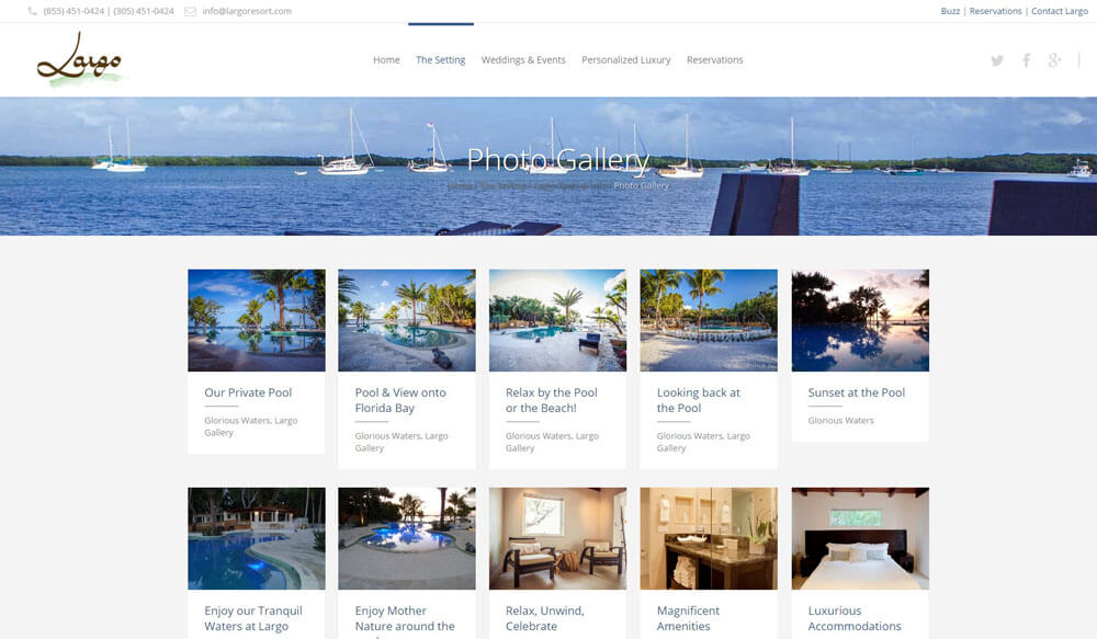 An image of the photos page of Largo Resort, website created by Not Fade Away Marketing