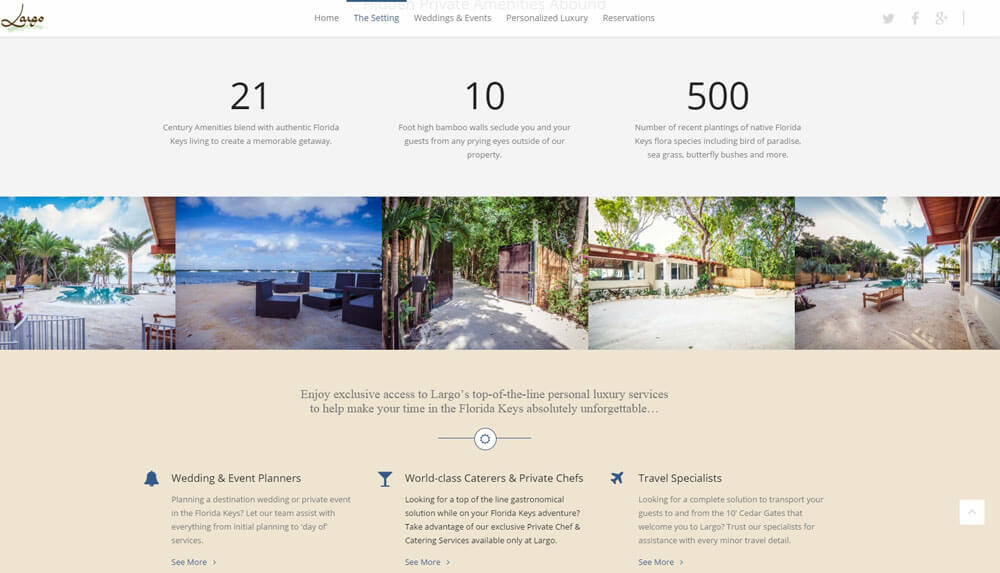 An image of the the setting page of Largo Resort, website created by Not Fade Away Marketing