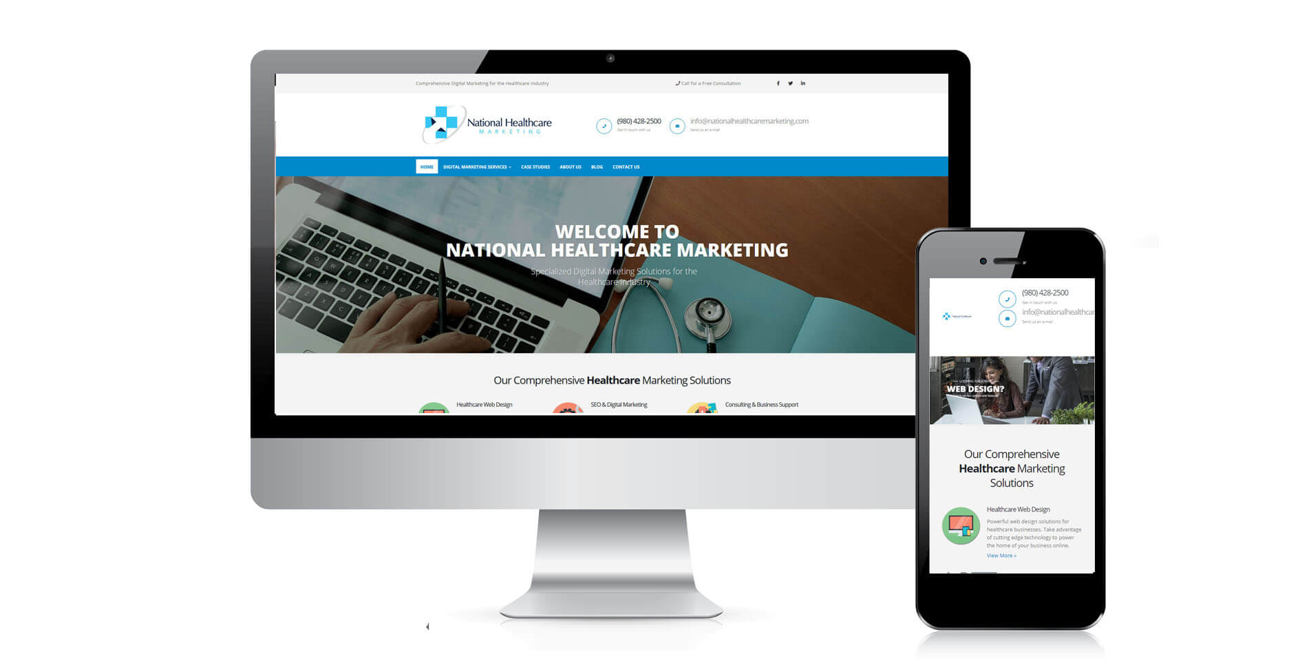 An image of the responsive design of National Healthcare Marketing, website created by Not Fade Away Marketing