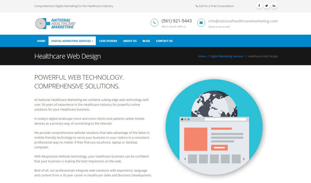 An image of the services page of National Healthcare Marketing, website created by Not Fade Away Marketing