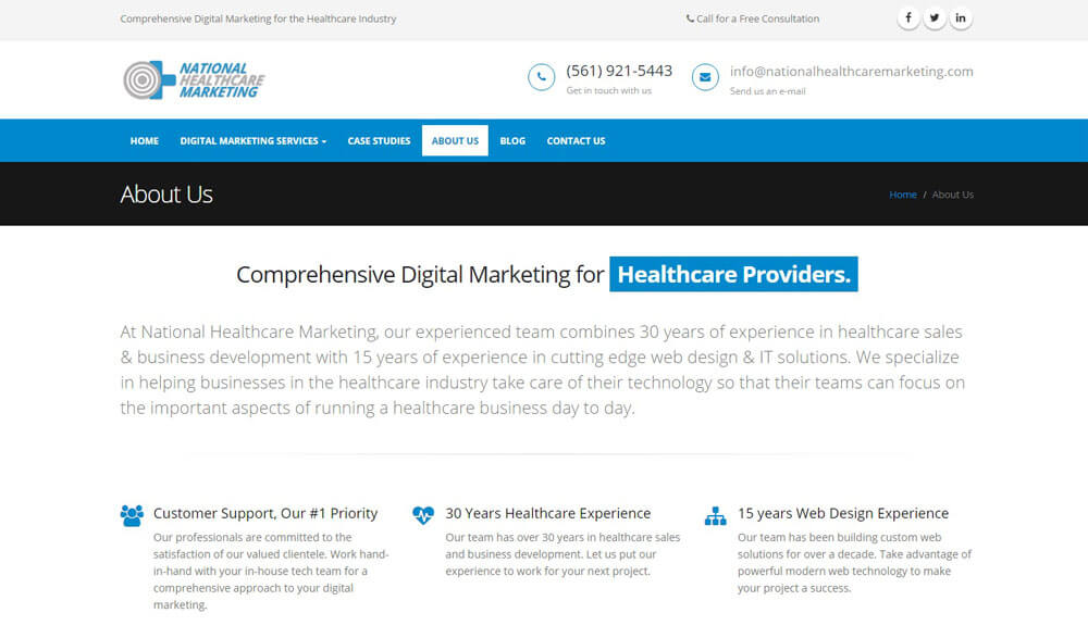 An image of the about us page of National Healthcare Marketing, website created by Not Fade Away Marketing