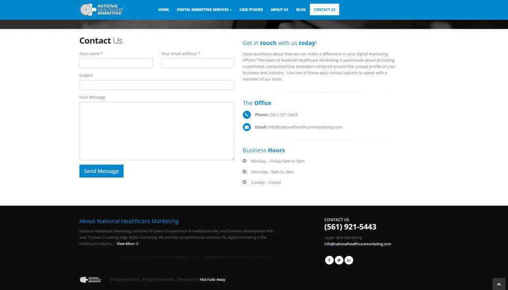 An image of the Contact Page of National Healthcare Marketing, website created by Not Fade Away Marketing