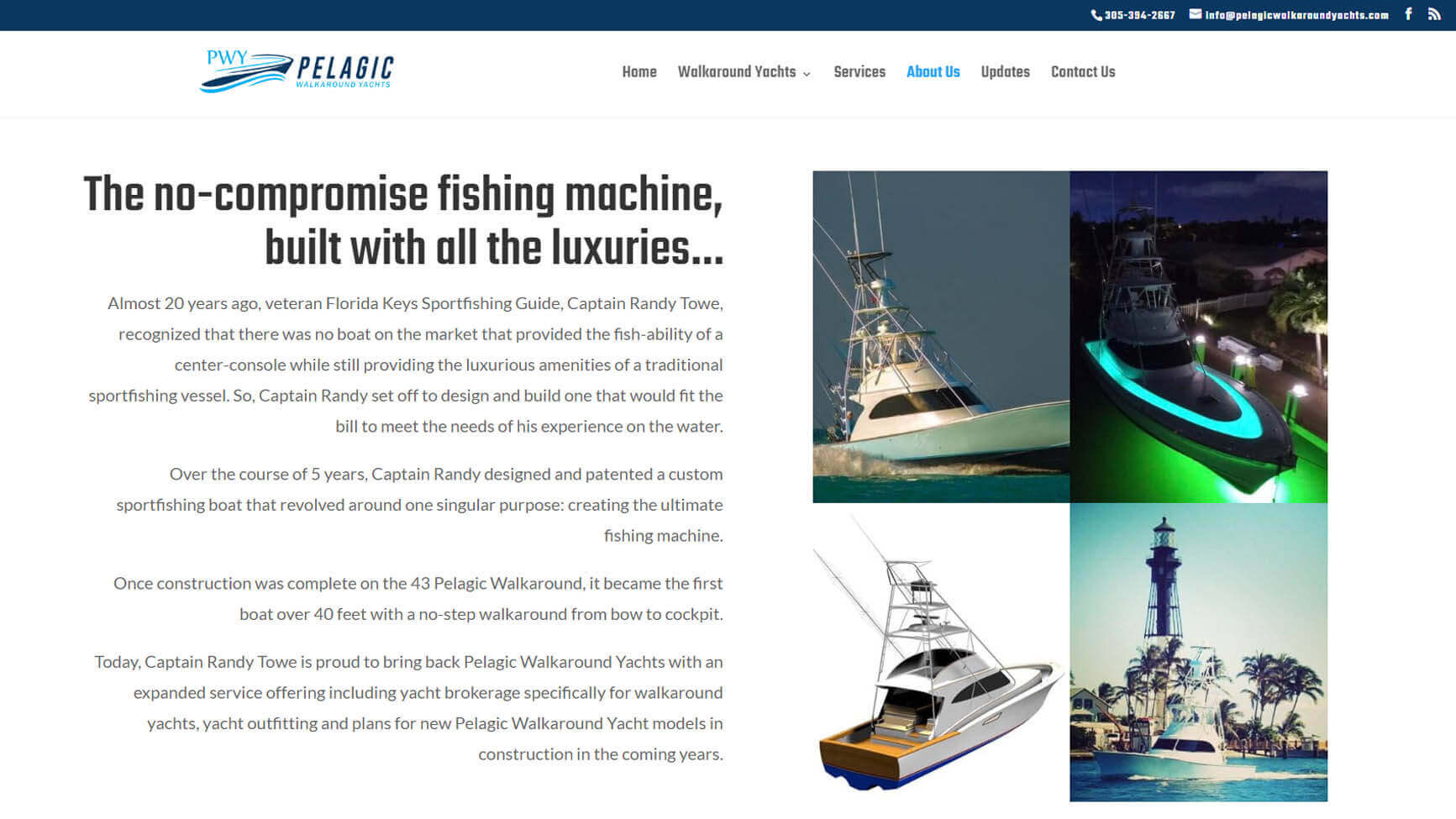 An image of the about us page of Pelagic Walkaorund Yachts, website created by Not Fade Away Marketing