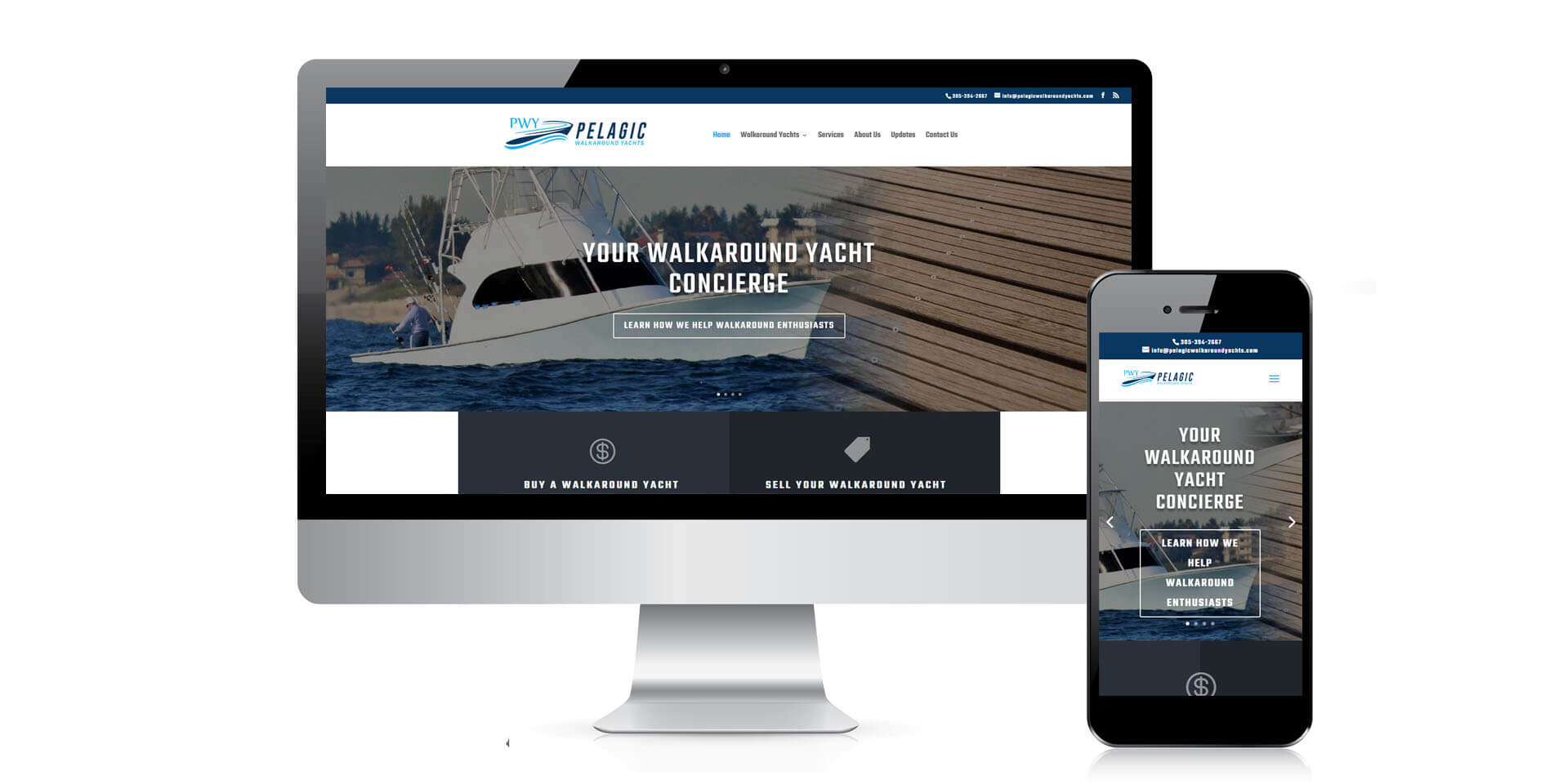An image of the responsive design of Pelagic Walkaorund Yachts, website created by Not Fade Away Marketing