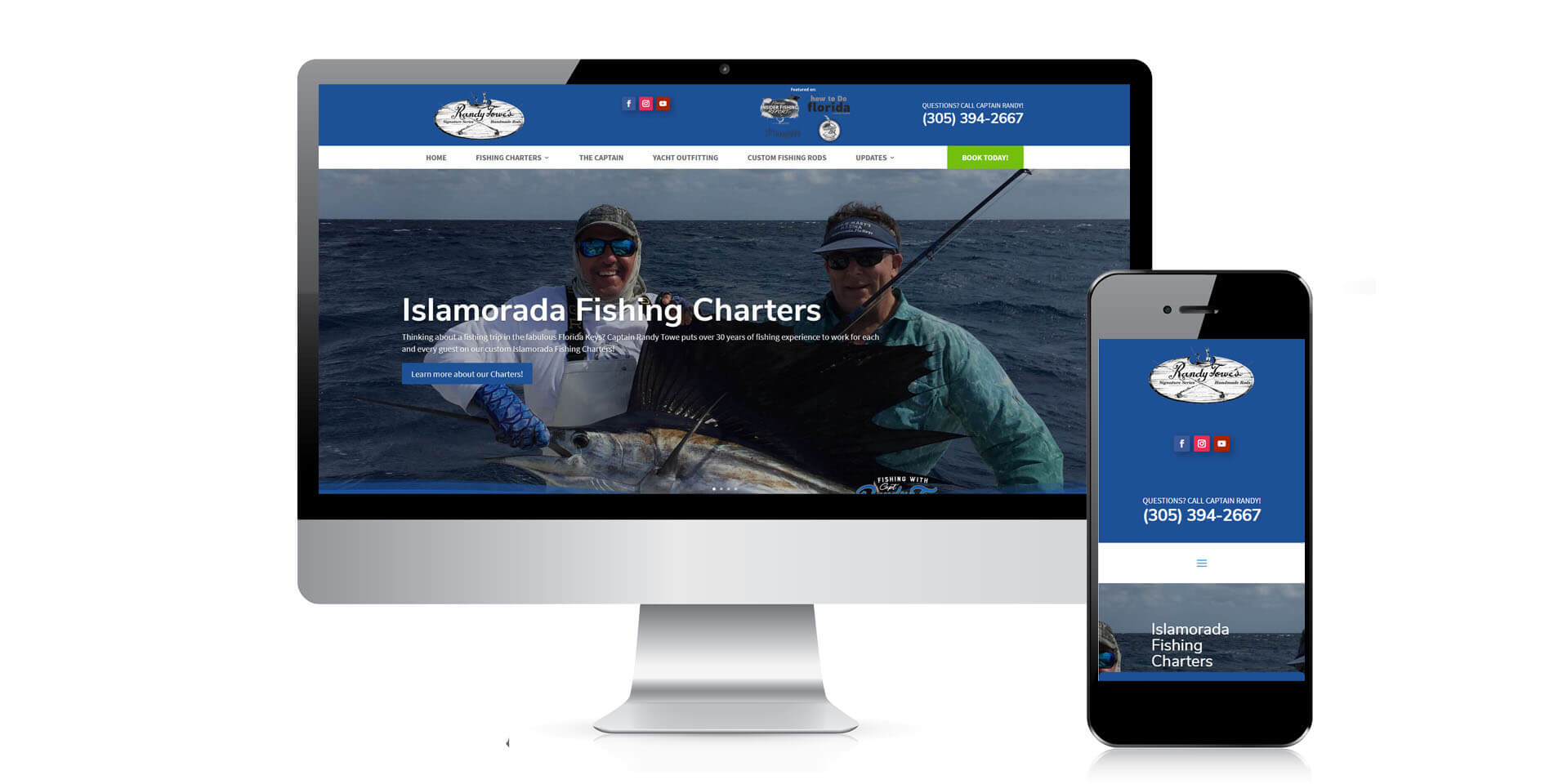 An image of the responsive design of Captain Randy Towe, website created by Not Fade Away Marketing