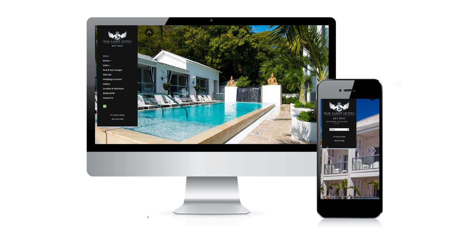 An image of the responsive design of Saint Hotel Key West, website created by Not Fade Away Marketing