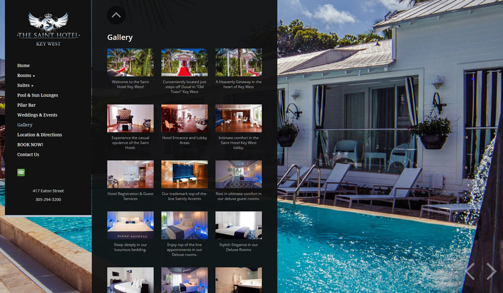 An image of the photos page of Saint Hotel Key West, website created by Not Fade Away Marketing