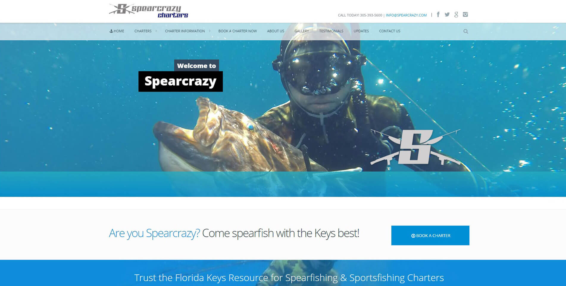 An image of the homepage of Spearcrazy, website created by Not Fade Away.