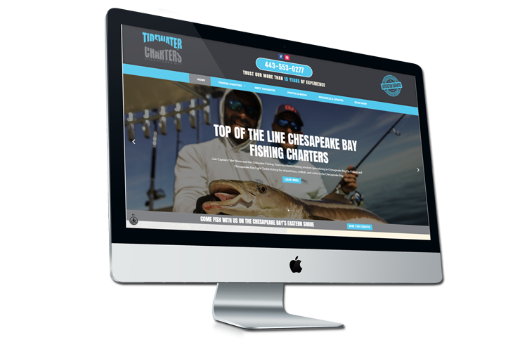 An image of the newly redesigned Tidewater Charters website created by Not Fade Away.
