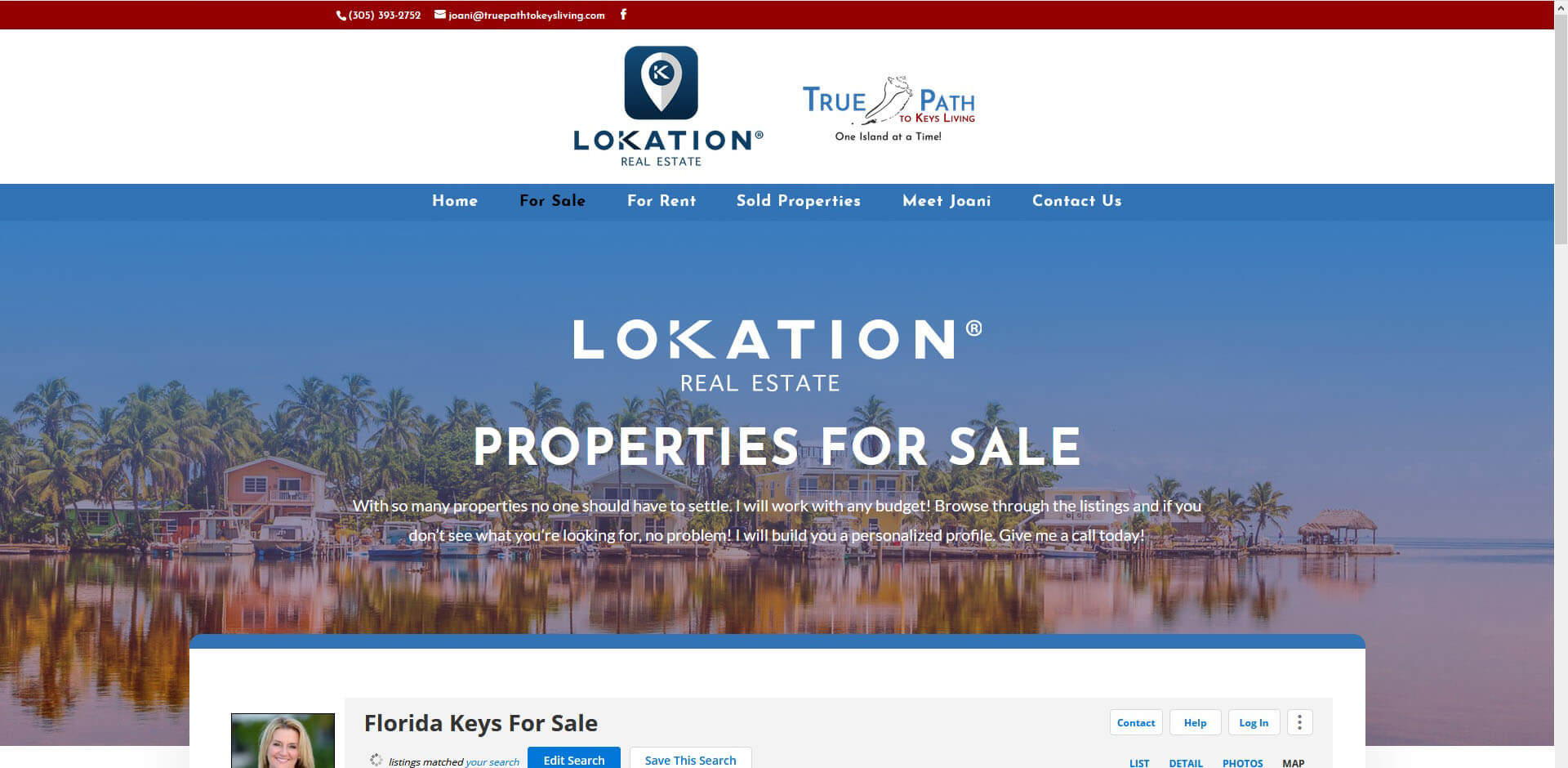 An image of the Properties for Sale page of True Path to Keys Living, website created by Not Fade Away Marketing
