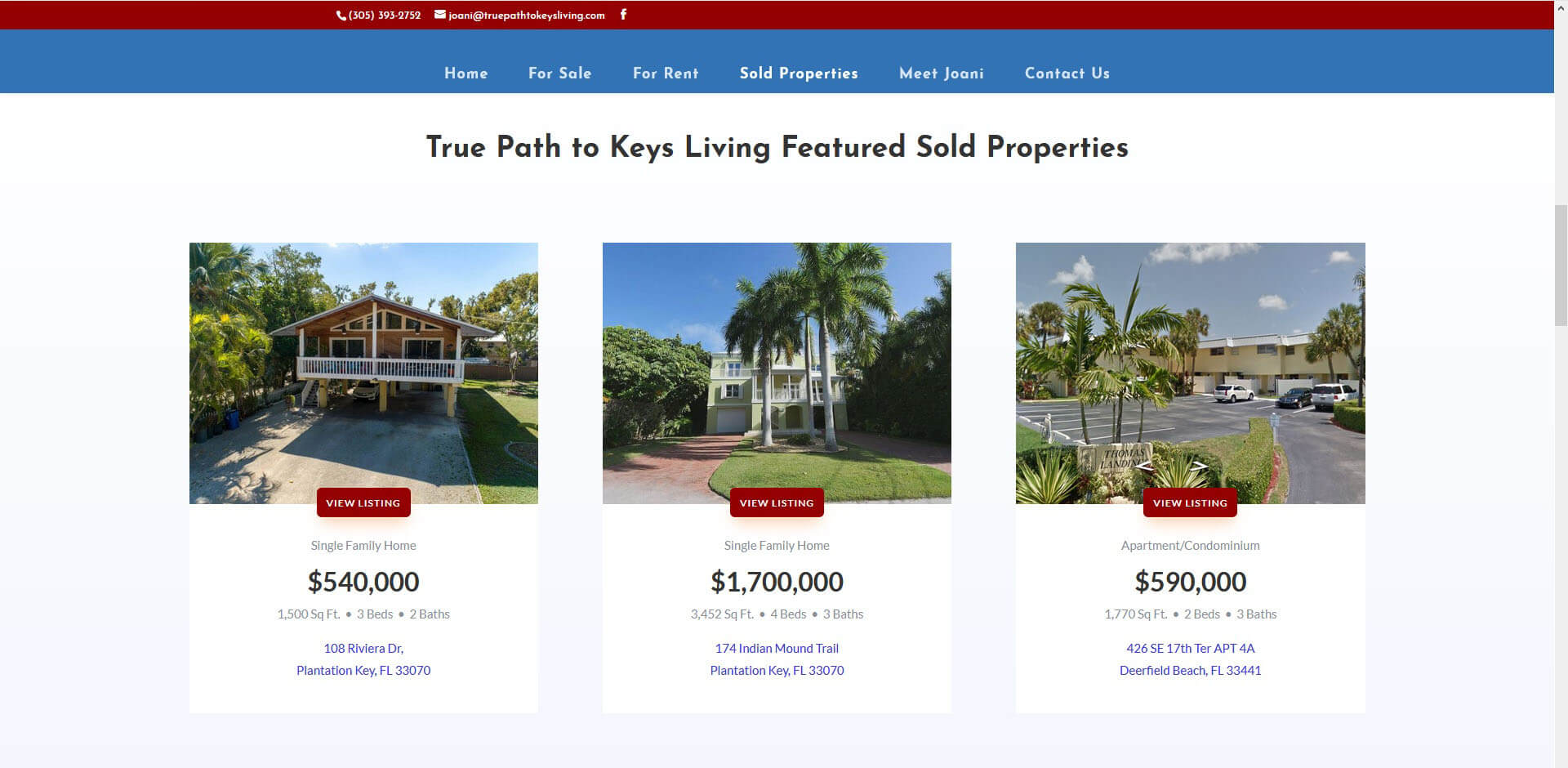 An image of the Sold Propertyies page of True Path to Keys Living, website created by Not Fade Away Marketing