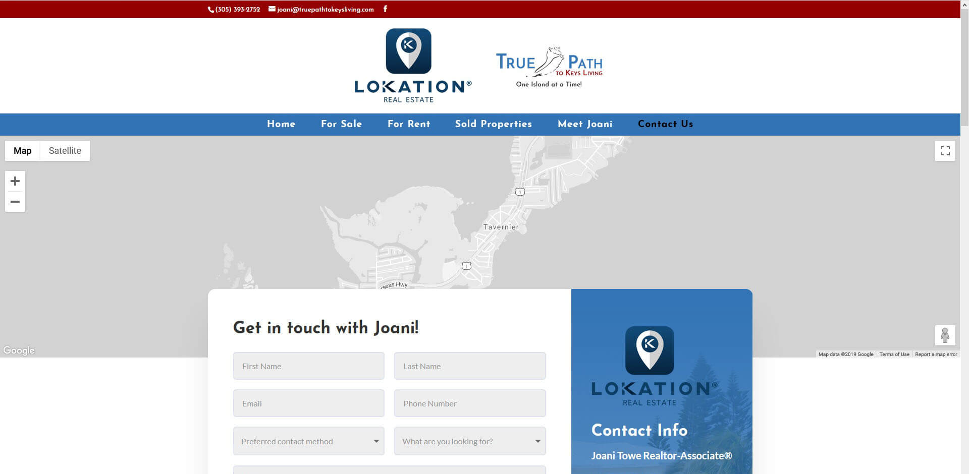 An image of the Contact Us Page of True Path to Keys Living, website created by Not Fade Away Marketing