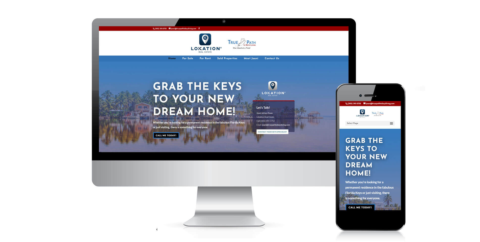 An image of the responsive design of True Path to Keys Living, website created by Not Fade Away Marketing