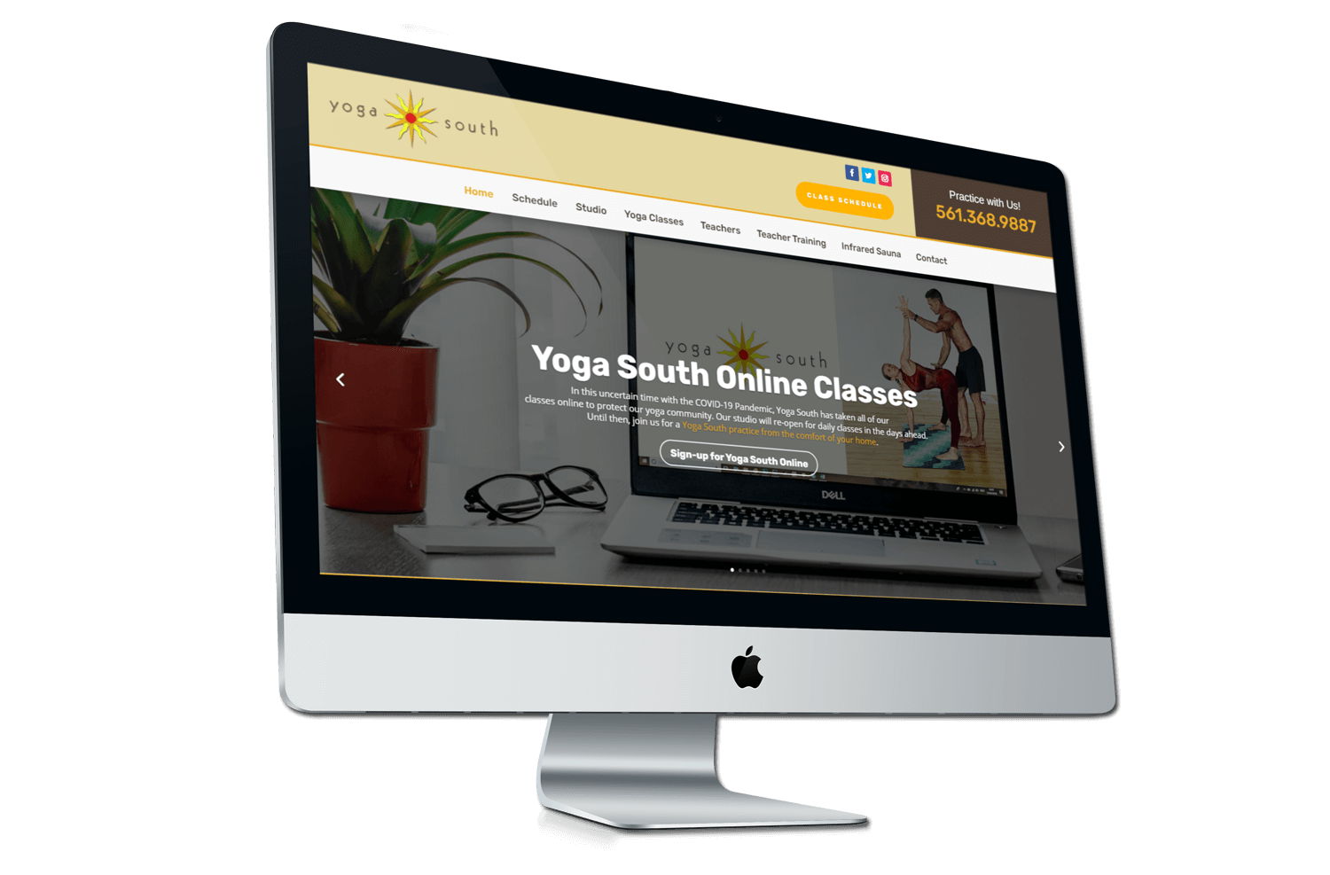 A after photo of the new Yoga South website on a iMac mockup from Not Fade Away.