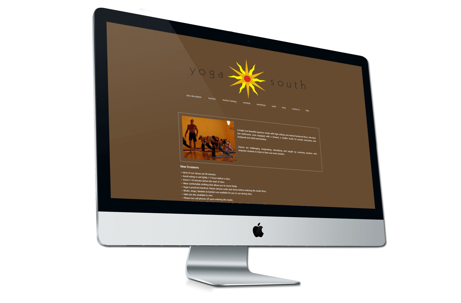 A before photo of the old Yoga South website on a iMac mockup from Not Fade Away.