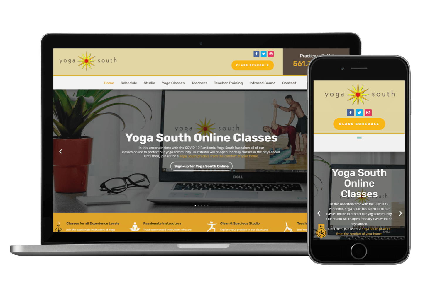 An image of the responsive web design created for Yoga South of Boca raton.