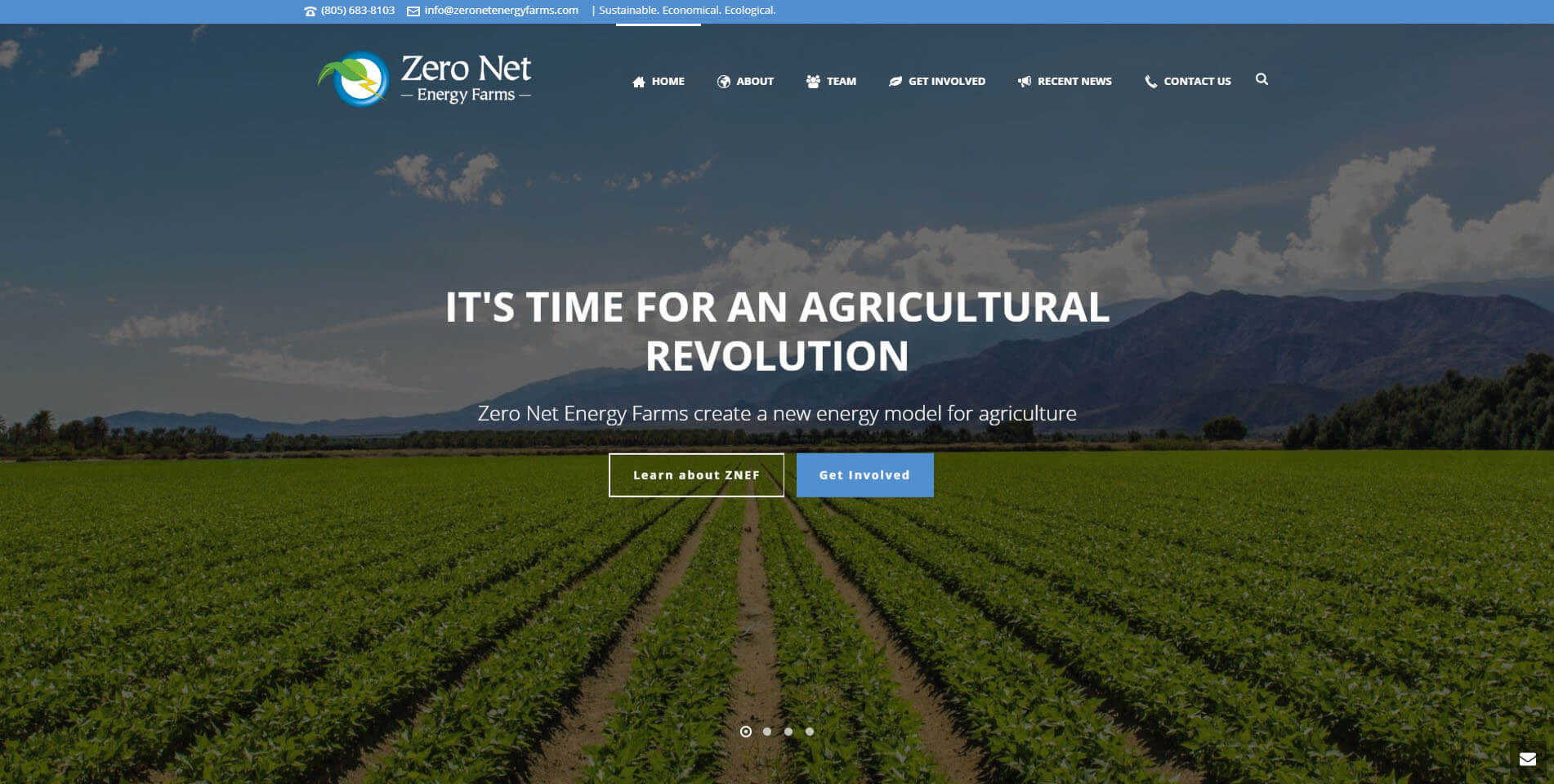 An image of the homepage of Zero Net Energy Farms, website created by Not Fade Away.
