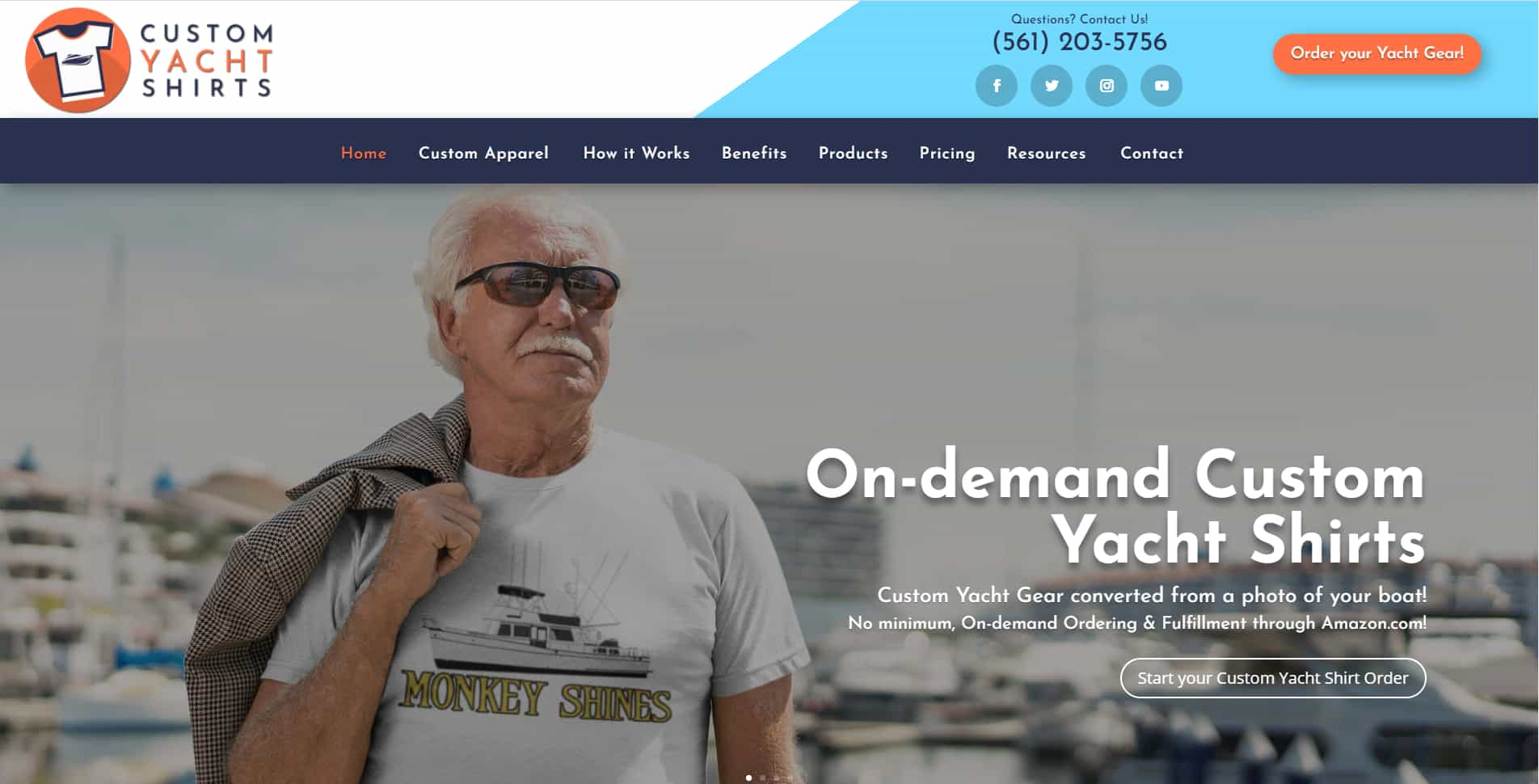 An image of the Custom Yacht Shirts website built by Not Fade Away.