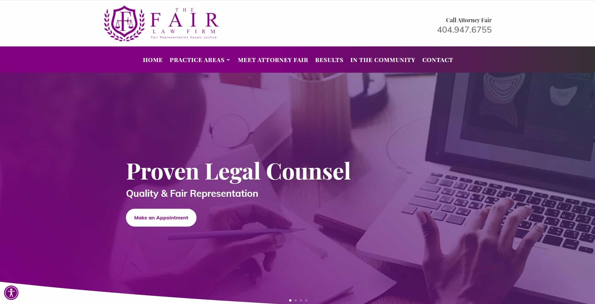 An image of the Fair Law Firm website built by Not Fade Away.
