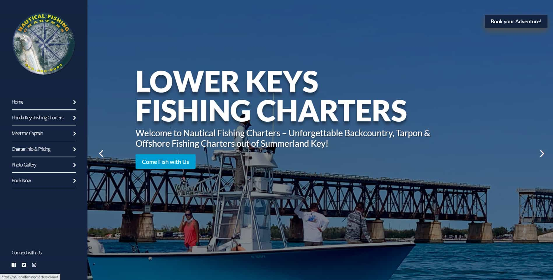 An image of the Nautical Fishing Charters website built by Not Fade Away.