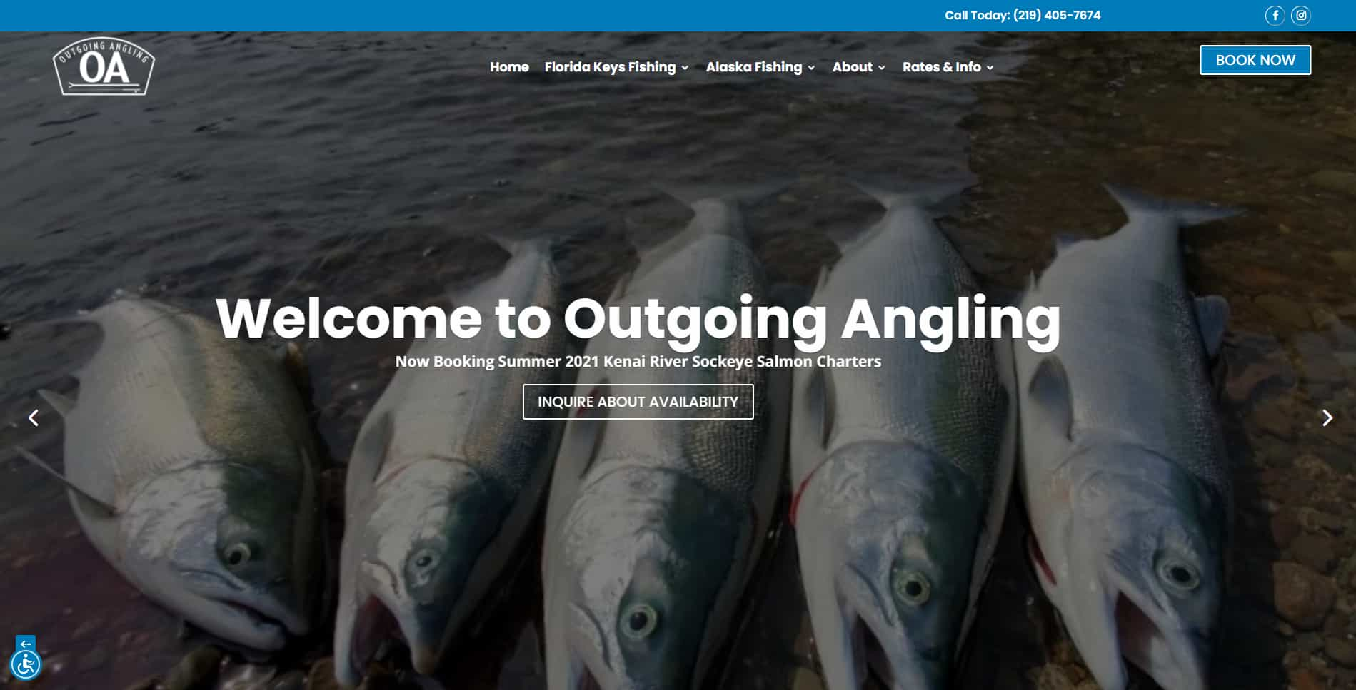 An image of the Outgoing Angling website built by Not Fade Away