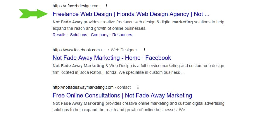 An image showing where a page title shows up in search results on major search engines.