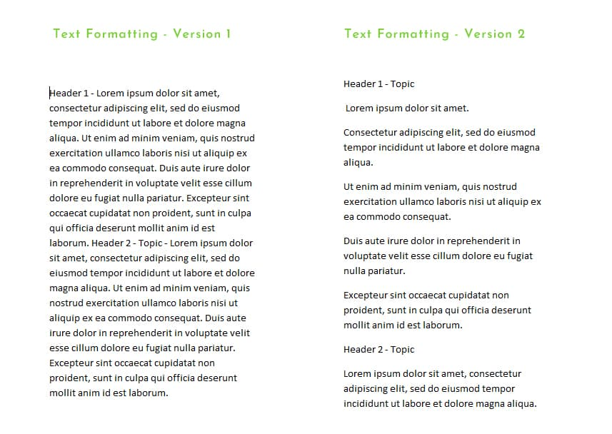 An image of two styles of text formatting as an example for SEO usage.